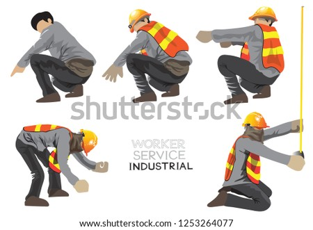 02ee0ec3492 Worker construction industry team character cartoon acting of Civil  engineering 1in 4