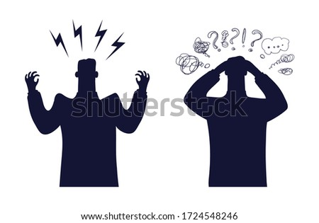 Worker expression concept of negative emotions. A tired man holds his head in his hands. Angry businessman, set of flat male characters, black silhouette isolated on white background. Vector