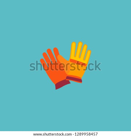 Worker gloves icon flat element. Vector illustration of worker gloves icon flat isolated on clean background for your web mobile app logo design.