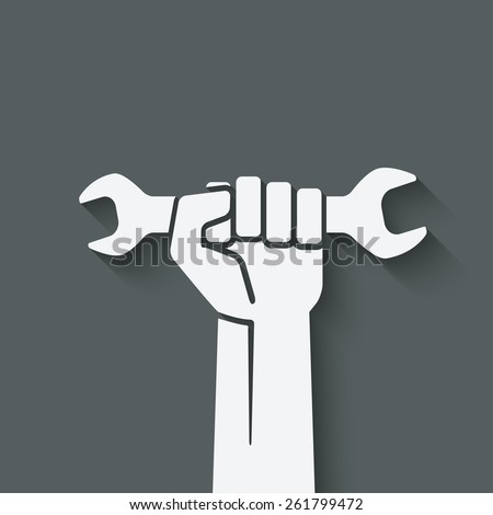 worker hand with wrench symbol - vector illustration. eps 10