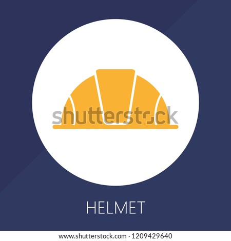 Worker helmet colorful vector icon. Yellow helmet isolated on white background. Flat design illustration for modern construction.