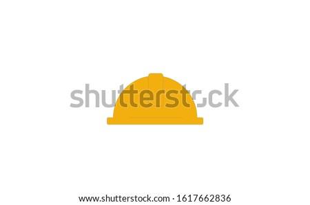 Worker helmet vector icon on white background. Flat vector worker helmet icon symbol sign. Yellow worker helmet icon. Worker helmet icon flat design vector illustration.