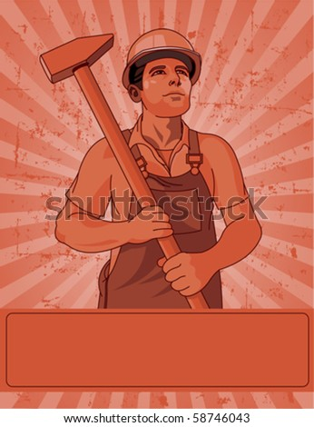 Worker holding  a hammer poster for Labor Day
