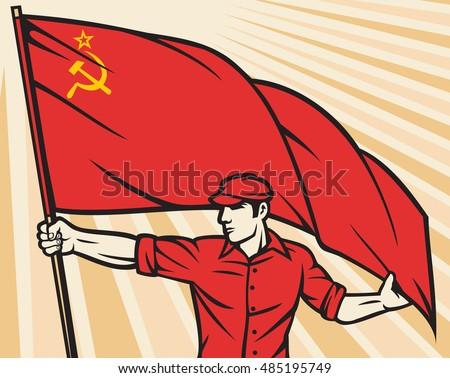 worker holding ussr flag