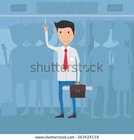 worker in bus going to office