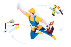 Worker in uniform with building tools. Man builder in uniform with helmet and belt. Tools for repairman or house repair service. Spatula and builder's spirit level, hammer and brush, saw and toolbox.
