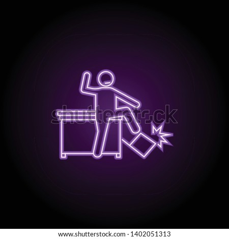 worker is losing control neon icon. Elements of People in the work set. Simple icon for websites, web design, mobile app, info graphics