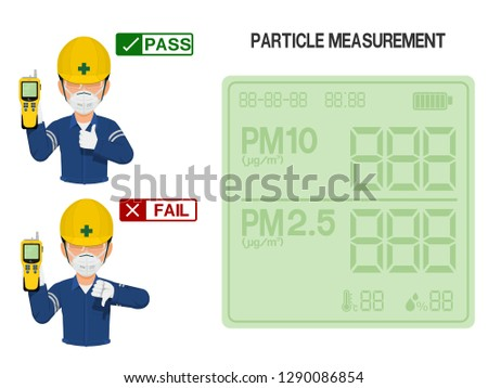 Worker is presenting result(pass and fail) of Particle measurement measurement.On the display screen of Particle detector can be assigned number easily. Foto stock ©