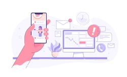 Worker is surfing photos on his phone on social media while seated at his desk behind his computer. Procrastination and laziness concept. Vector illustration.