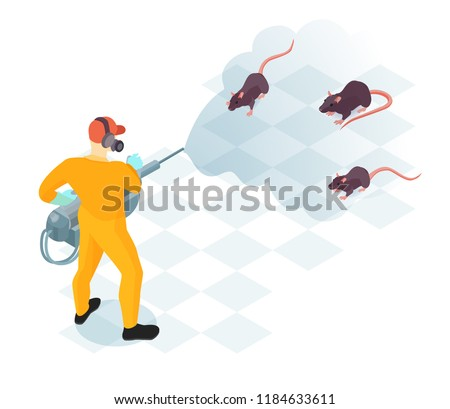 Worker of pest control service with professional equipment during domestic disinfection from rodents isometric vector illustration