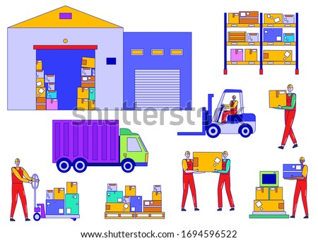 Worker people in warehouse vector illustration. Cartoon line man character work in logistic delivery service, drive truck, warehouseman loading box in factory storage, shipping set isolated on white