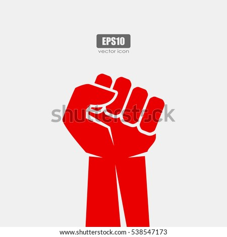 Worker red strong fist vector poster illustration isolated on white background. Hand fist icon. Fist sign.