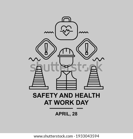 Worker safety illustration. Easy to edit with vector file.  Can use for your creative content. Especially about safety and health work day in this april. ストックフォト ©