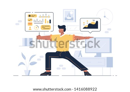 Worker showing balance in work vector illustration. Man in office demonstrating symbol of stability flat style concept. Guy standing at workplace in equilibrium pose