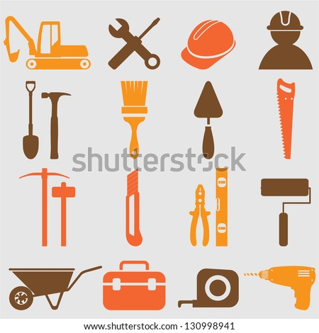 Construction Worker Icon Vector Worker Tools Icons Vector