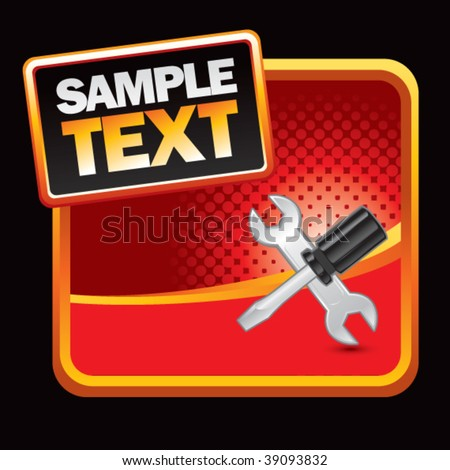 worker tools on red halftone banner template