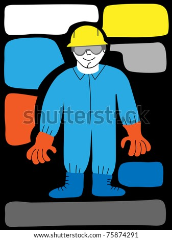 worker with detailed protection equipment