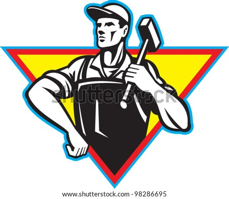 Worker With Hammer Retro