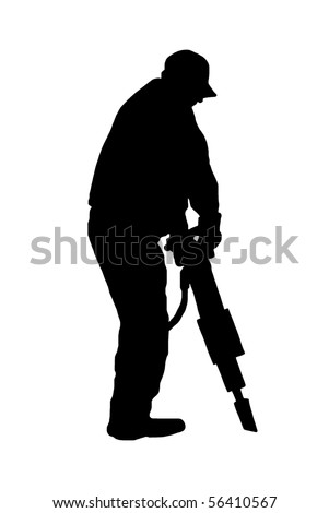 worker with jackhammer isolated