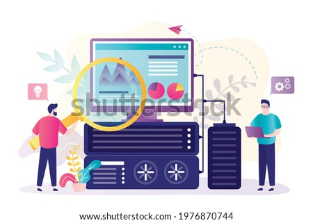 Worker with magnifying glass diagnose computer and power supply. Two sysadmin perform technical work with server. System administrator configures server. Optimization of work. Flat vector illustration Сток-фото ©