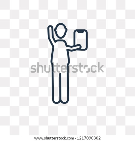 Worker with Notepad vector outline icon isolated on transparent background, high quality linear Worker with Notepad transparency concept can be used web and mobile