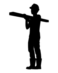 Worker with wooden ber silhouette vector
