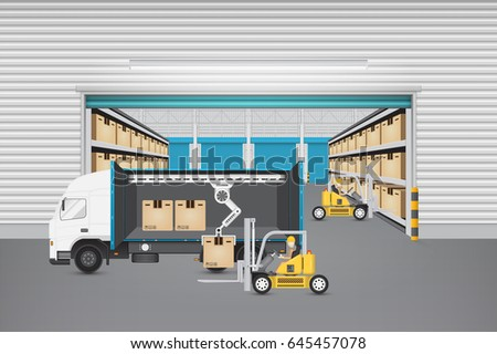 Worker working with forklift and cargo container and truck inside warehouse building for shipping and transportation concept.
