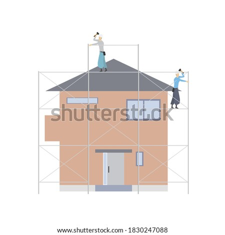 Workers building scaffolding to remodel a house Photo stock ©