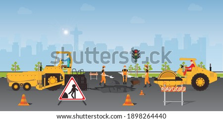 Workers change the asphalt, repair the road surface. Road roller makes the paving on street.Road under construction flat style design Vector illustration.