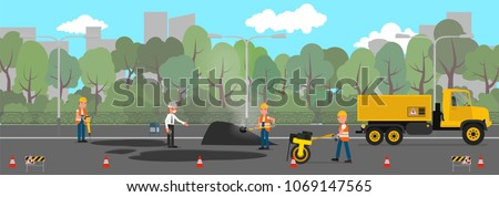 Workers change the asphalt, repair the road surface. Vector illustration, a flat style design.