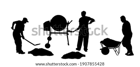 Workers crew with shovel put gravel in concrete mixer vector silhouette. Working on construction site. Laborer man with spade digging earth. Digger mining. Industry building new house. Wheelbarrow man Photo stock ©