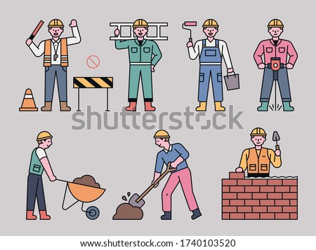 Workers doing a variety of jobs at the construction site. flat design style minimal vector illustration.