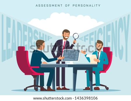 Workers Efficiency Assessment Flat Banner Template. HR Experts Evaluating Employees Leadership Skills. Cartoon Recruiter Testing Candidates Individual Traits, Characteristics in Personal Profile