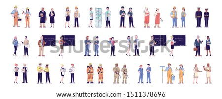 Workers flat vector characters set. Professional staff, labor. Jobs and occupations. Firefighters, soldiers, doctors, cleaners cartoon illustrations. Service industry personnel, employees