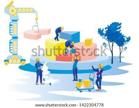 Workers in Helmets Build Pyramid Geometric Shapes. Achive Goal. Overcome Obstacles. Group Man builds Business Strategy Using Crane. Competitive Work in Office. Leader Leads Work Process