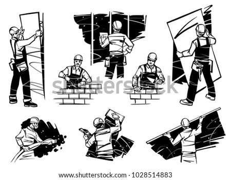 workers in the house work with
