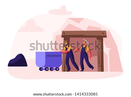 Workers in Uniform and Helmets Exit Coal Mine Pushing Trolley and with Pickaxe in Hands. Miners Characters at Work. Extraction Industry Profession, Working Occupation. Cartoon Flat Vector Illustration