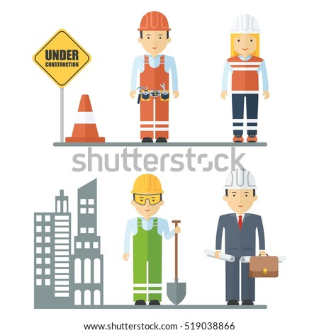 Workers of construction sector. Engineer worker in overalls with a shovel. Repair of roads, traffic cone. Building and the woman employee of municipal sphere. Objects isolated on white background.