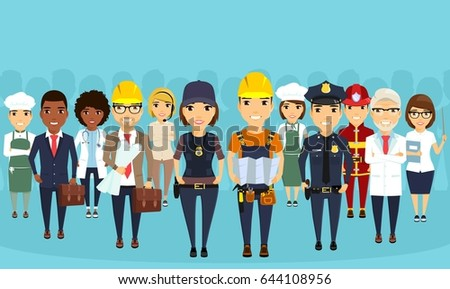 Workers of different professions. Society. Professionalism. Qualified. Employees of public service.On a blue background in flat style.