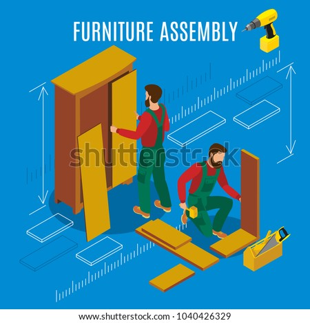 Workers of manufacture with professional tools during furniture assembly on blue background isometric vector illustration