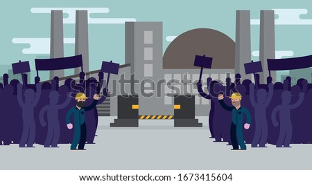 workers on strike in front of a factory. Factory closed, bankrupt Stock photo ©