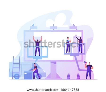 Workers Prepare Billboard to Installing New Advertisement. Industrial Climbers Working on Ladder and Lifting Platform Painting Signboard, Foreman with Megaphone Manage. Cartoon Vector Illustration
