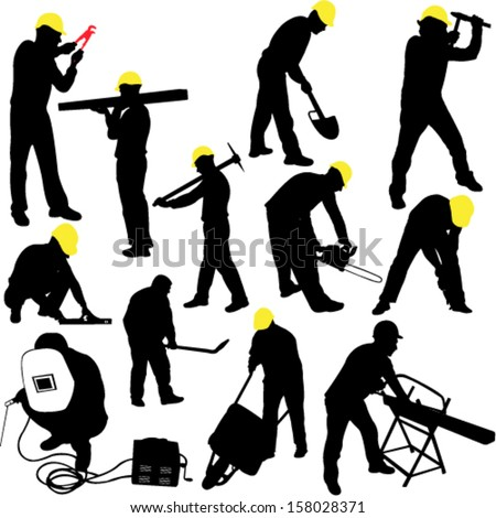 workers silhouettes collection vector