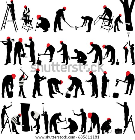 Workers silhouettes collection - vector