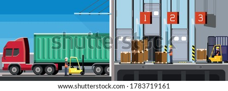 Workers work inside a warehouse, downloading the contents of a container truck, containerization, inventory management, zone picking, new normal, hygiene and prevention covid-19