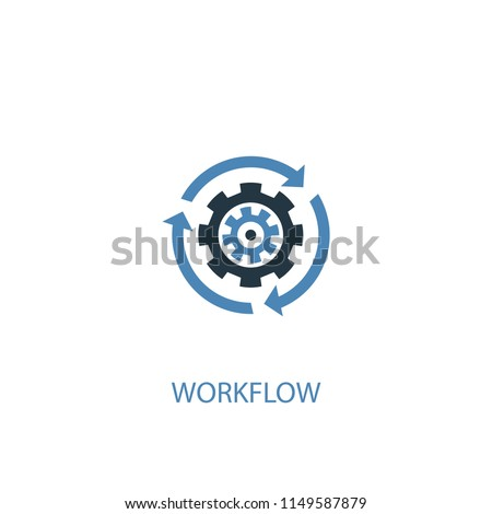 Workflow concept 2 colored icon. Simple blue element illustration. Workflow concept symbol design from startup set. Can be used for web and mobile UI/UX