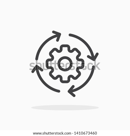 Workflow icon in line style. For your design, logo. Vector illustration. Editable Stroke.