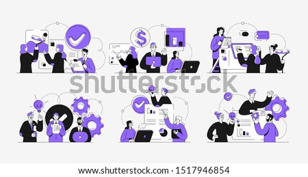 Workflow management business concept illustrations. Collection of scenes at office with men and women taking part in business activity. Outline vector illustration.