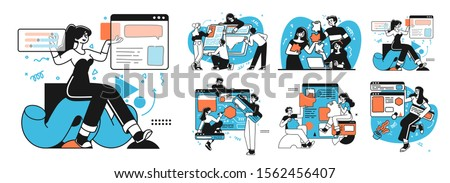 Workflow management business concept illustrations. Collection of scenes at office with men and women taking part in business activity. Outline vector style.