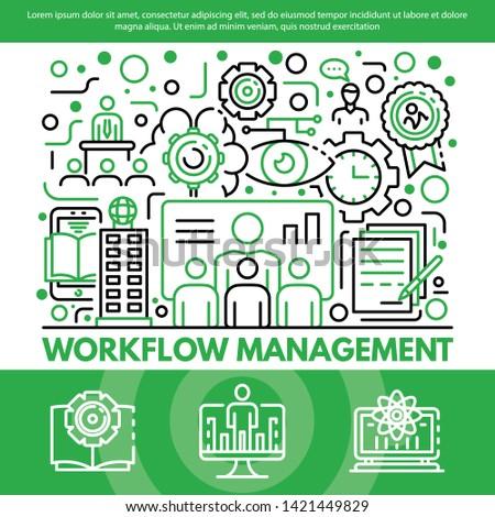 Workflow management concept background. Outline illustration of workflow management vector concept background for web design